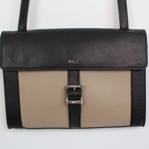 Lauren Ralph Lauren taupe leather crossbody bag